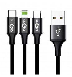 KLGO S-687 3in1 HIGH SPEED CHARGE & DATA TRANSFER CABLE